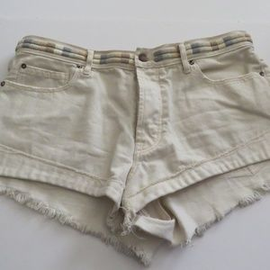 Free People Button Fly Booty Shorts Frayed Edge 29